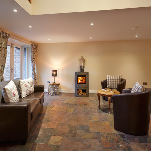 Cosy living room with log burning stove