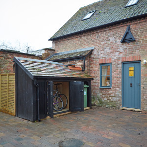 Front view with bike shed